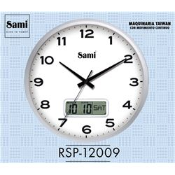 Sami Reloj Pared 31 cm C/Lcd Digital RSP-12009 - RSP-12009