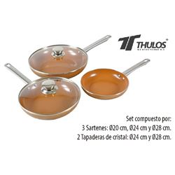 Thulos Sarten Cobre Set de 3 y 2 C/Tapa TH-CFP248