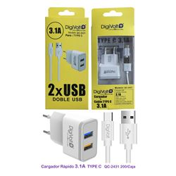 Digivolt Cargador Type C 2 Usb 3100 mA QC-2431