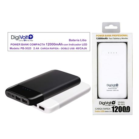 Digivolt Power Bank Doble Usb 12000 mAh/2.4A PB-3025 - PB-3025