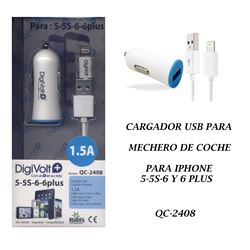 Digivolt Cargador If i6 y i5 1.5am 12V Coche QC-2408 - QC-2408