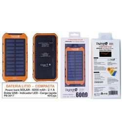 Digivolt Power Bank Solar 6000 mAh/2.1A PB-3017 - PB-3017