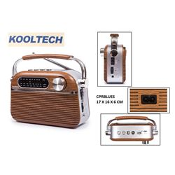 Kooltech Radio Clasico Usb BT Pilas/Bater./220v CPR-BLUES - CPR BLUES