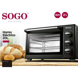 Sogo Horno Electrico Grill 19 Lt 1380w SS-10515 - SS-10515
