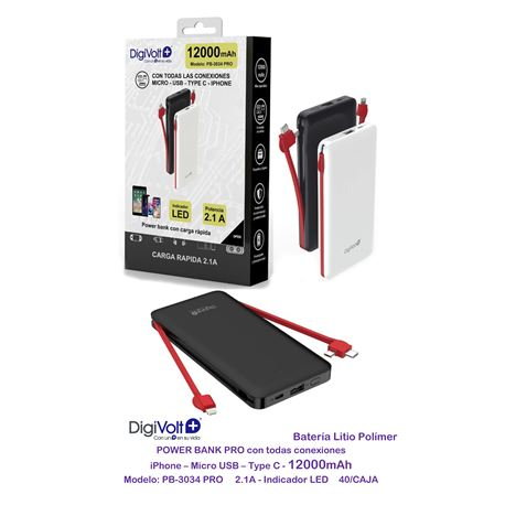 Digivolt Powerbank 12000 mAh Cable If TypeC Mic Usb PB-3034 - PB-3034 PRO