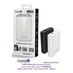 Digivolt Powerbank 10000 mAH Cable If TypeC Mic Usb PB-3031