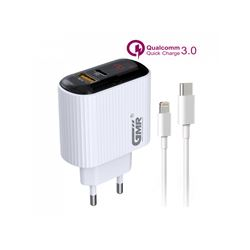 GMR Cargador Móvil con Cable Tipo C a Iphone 18W 3.0 CH-2601 - CH2601