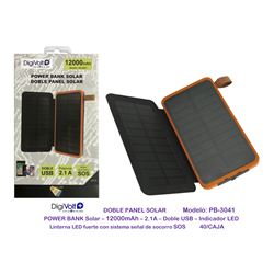 Digivolt Power Bank Solar Doble Panel 12000 mAh PB-3041 - PB-3041