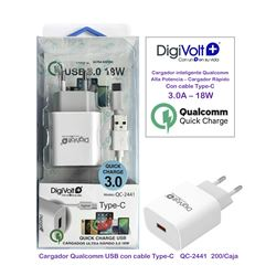 Digivolt Cargador Quick Charge 3.0 Type-C C/Cable QC-2441 - QC-2441