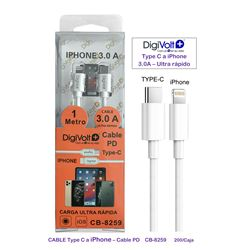 Digivolt Cable PD Type-C a Iphone 3.0A CB-8259 - CB-8259